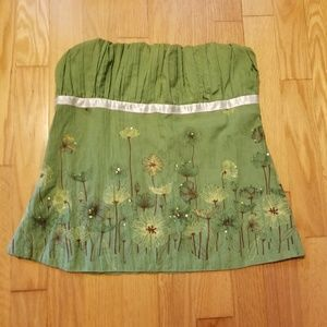 Cheeky Green Flower Field Strapless Top